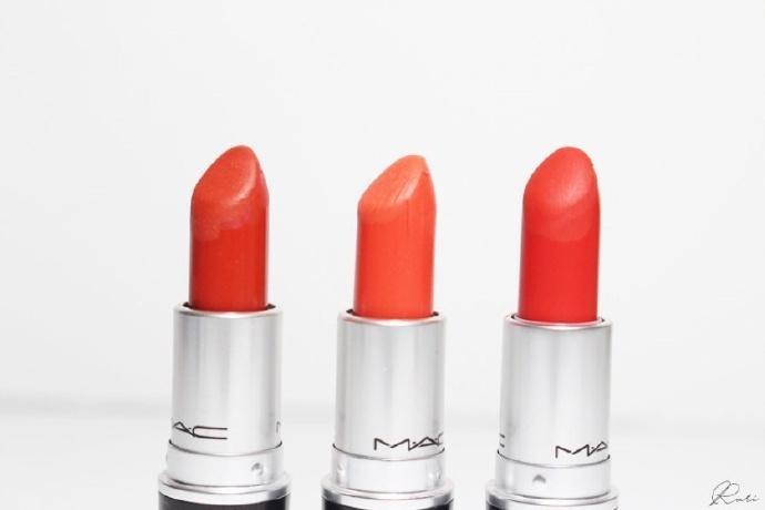 口红种草 MAC 三款橙色系子弹头试色对比