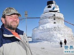世界上最大最高的雪人 老人堆了一个16米高的雪人(照片)
